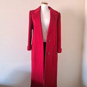 VTG Cassidy Long Red 100% Wool Pea Polo Coat - 6